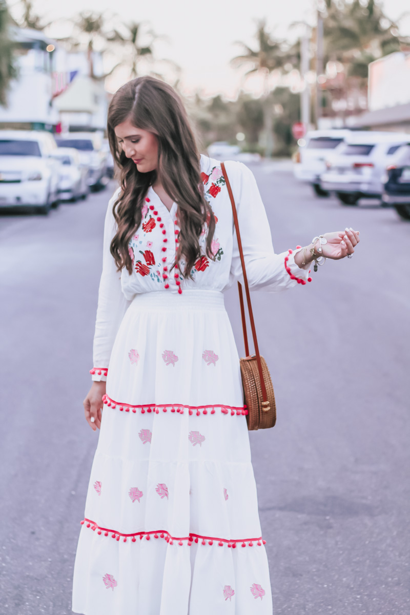 Pom Pom Embroidered Maxi Dress