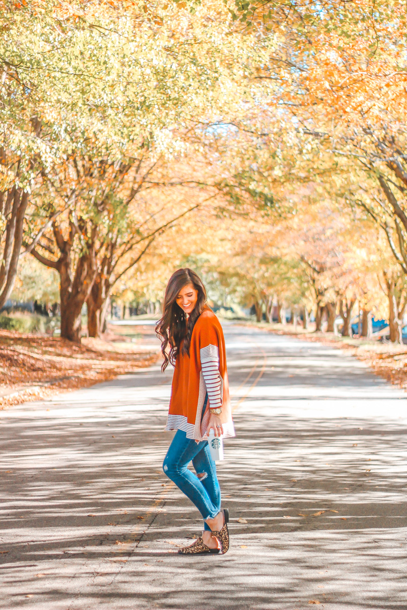 Striped Cape Sweater Giving All The Fall Feels