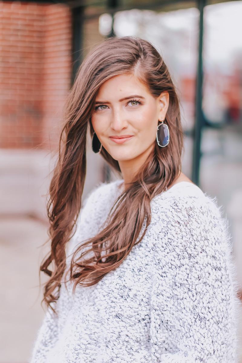 Fuzzy Grey Sweater Kendra Scott Earrings