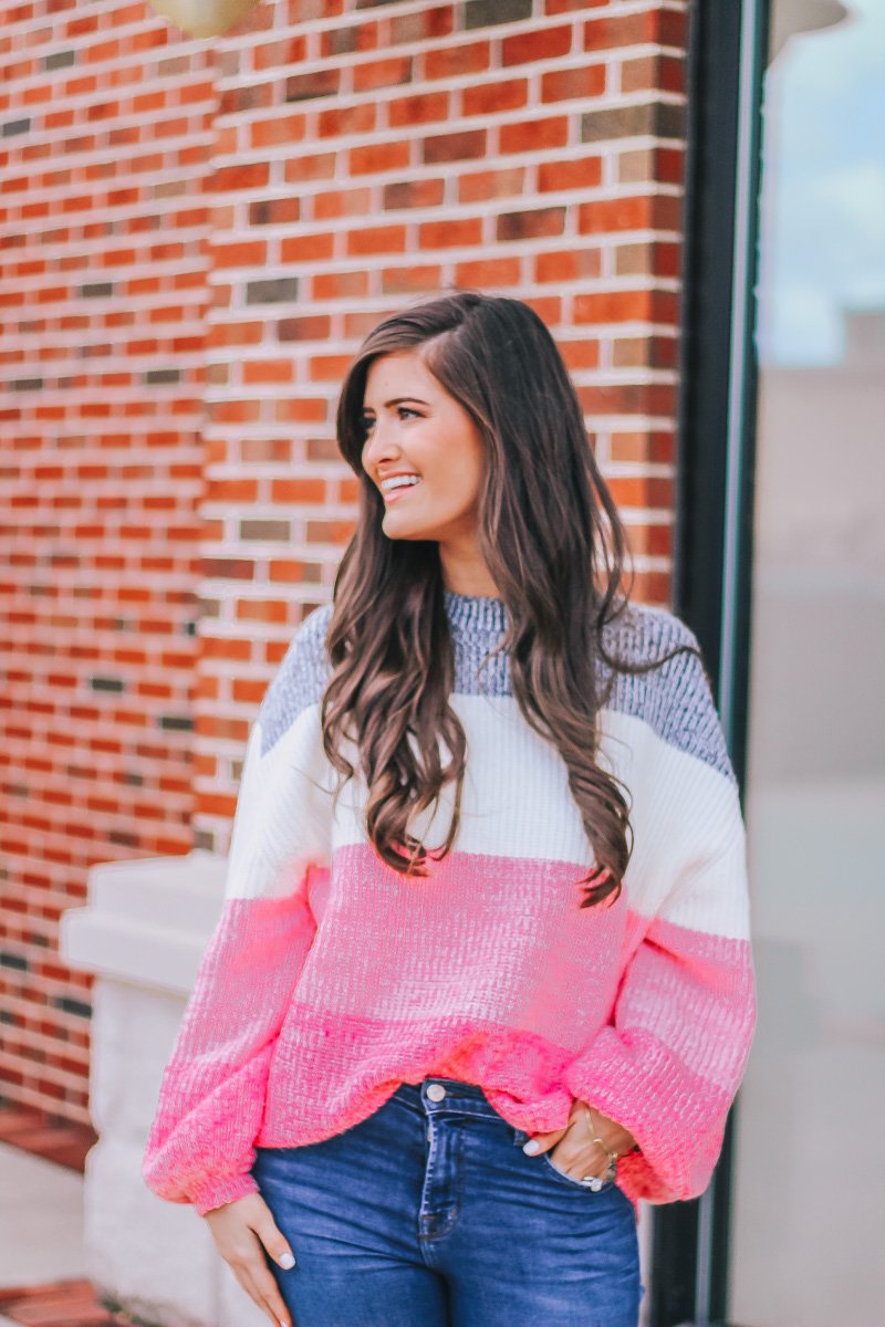 Pink Colorblock Sweater To Brighten Your Day