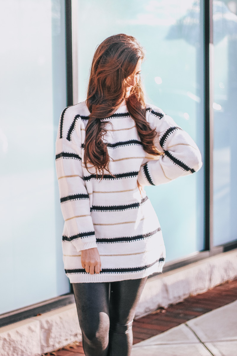 Winter Date Night Outfit - Striped Tunic - Spanx Leggings
